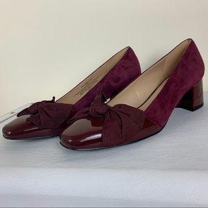 Isaac Mizrahi Shoes - Isaac Mizrahi Moyen Wine Suede/Patent Heels NWOT 8